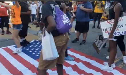 Black Lives Matter Protesters Filmed Dancing On American Flag In Washington, DC