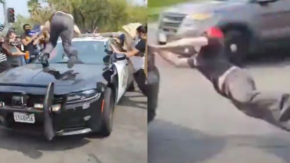BLM Rioter Attacks Cop Car. He Gets Tossed Like a Noodle Salad!