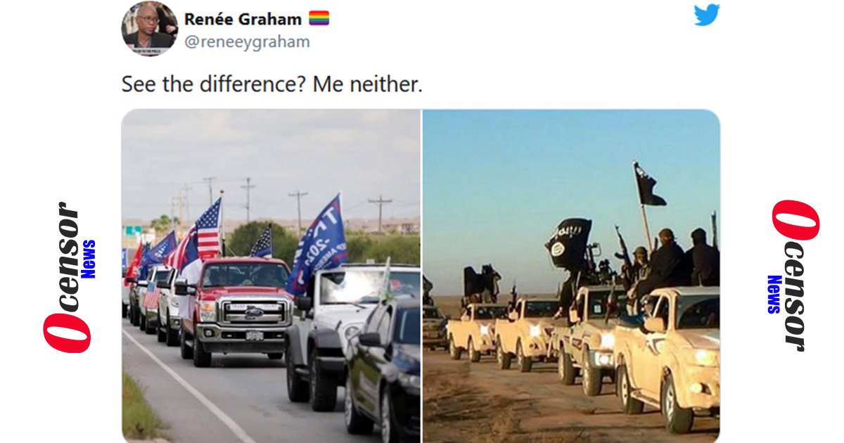 Renée Graham, Woke Liberal Shows Caravan Of Trump Supporters, Puts Up Photo Of ISIS, Says No Difference