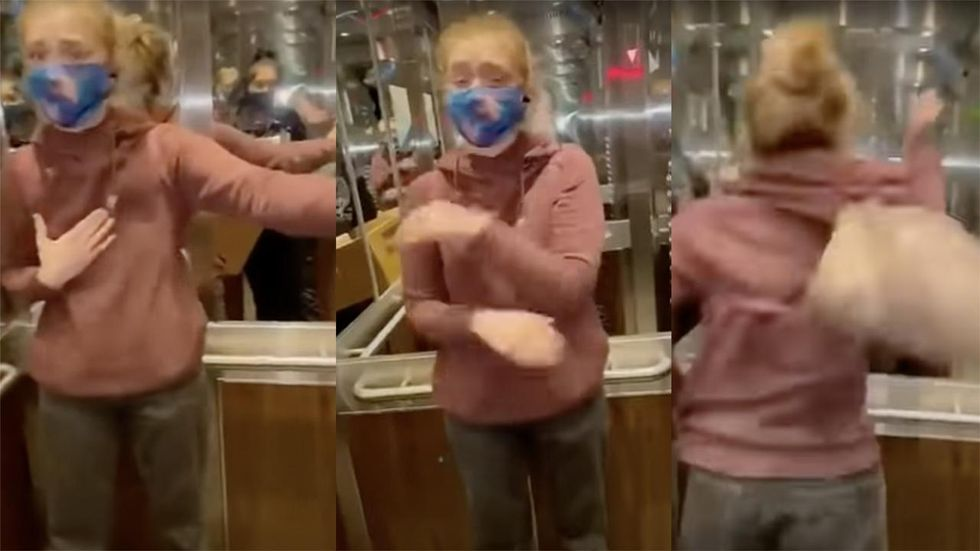 Woman Has Epic Elevator Meltdown Over Someone She Claims Isn't Masked Up Properly