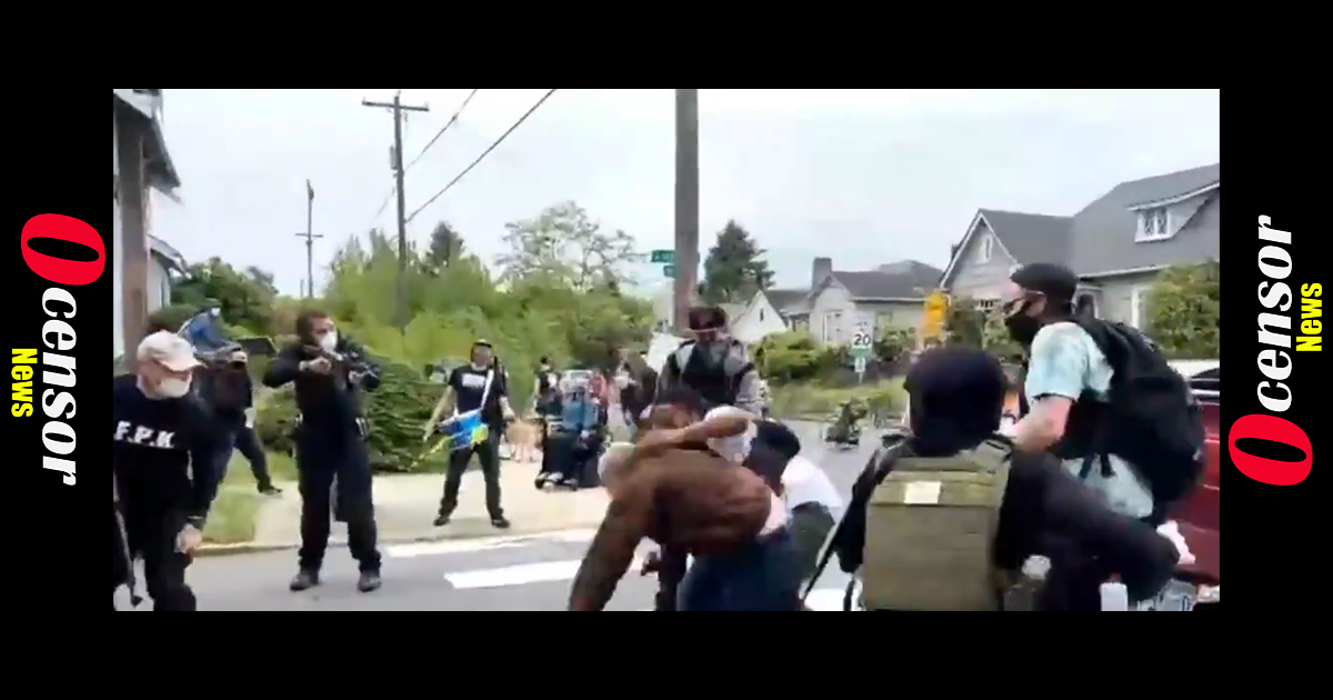 Portland BLM mob Attacks Driver Who Pulled His Gun After They Blocked Road And Threatening Him With Guns