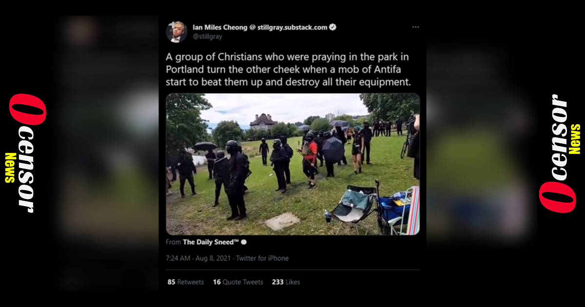 Antifa Terrorists Violently Attack Christian Families Gathered to Pray on Portland